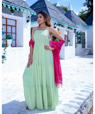 Green Tier Maxi Dress With Dupatta (Set of 2)