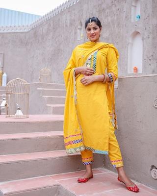 Yellow Lace Kurta & Pant With Dupatta (Set of 3)
