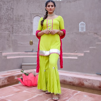 Neon Green Kurta & Sharara With Dupatta (Set of 3)
