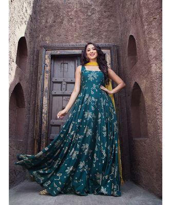 Dark Green Gold Foil Dress With Dupatta  (Set of 2)