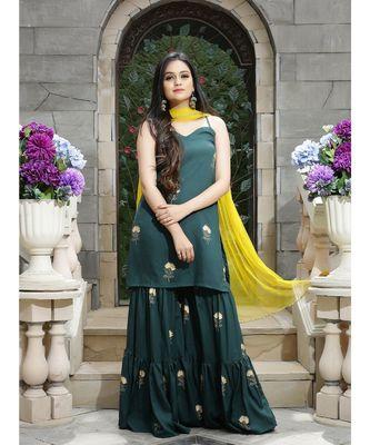 Green Foil Bagh Sharara Set With Dupatta (Set of 3)