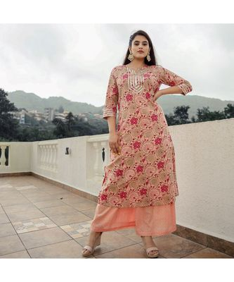 Peach Jaal Print With Gota Suit Set (Set of 2)