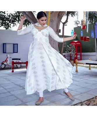 White Anarkali Kurta With Dupatta (Set of 2)