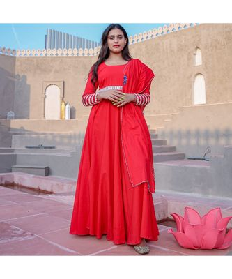 Red Crochet Lace Anarkali & Churidar With Dupatta (Set of 3)