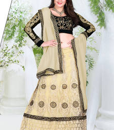 Buy Beige Color Net Designer Lehenga Choli navratri-lehenga-chaniya-choli online