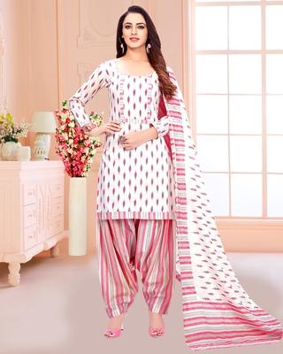 White printed pure cotton salwar