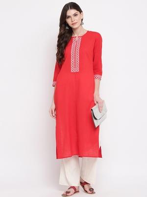 Women's Solid Straight Cotton Red Kurti