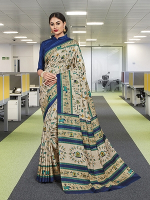 Multi Malbari Silk Animal Print Saree with Blouse Piece