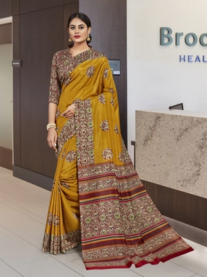 Multi Malbari Silk Floral Saree with Blouse Piece