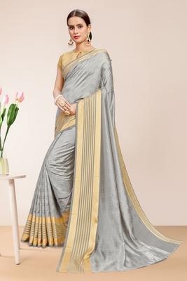 Gray Sana Silk Striped Print Saree with Blouse Piece