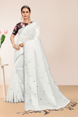 White Linen Self Design Saree with Blouse Piece
