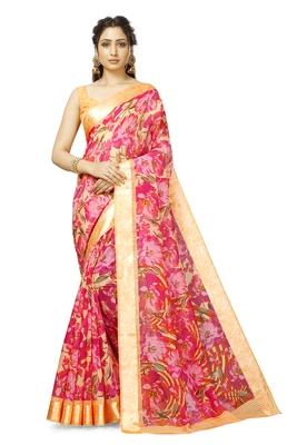 Light Pink Cotton Floral Saree with Blouse Piece