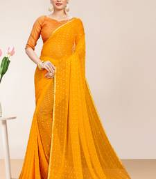Yellow Georgette Chiffon Blend Striped Saree with Blouse Piece