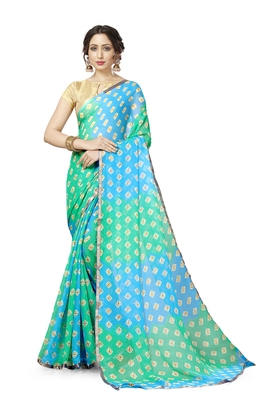 Sky Blue and Green Georgette Chiffon Blend Checkered Saree with Blouse Piece