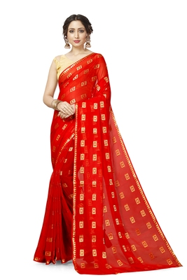 Red Georgette Chiffon Blend Checkered Saree with Blouse Piece