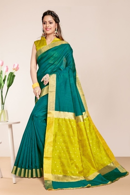 Green Cotton Striped Saree with Blouse Piece