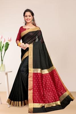 Black Cotton Striped Saree with Blouse Piece