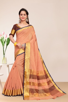 Peach Cotton Striped Saree with Blouse Piece