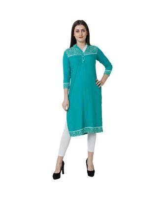 green plain rayon kurti