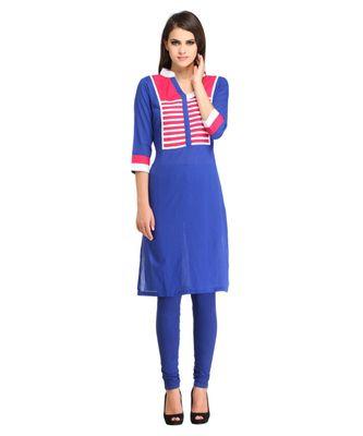 blue plain rayon kurti