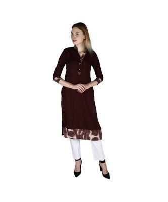 brown plain rayon kurti