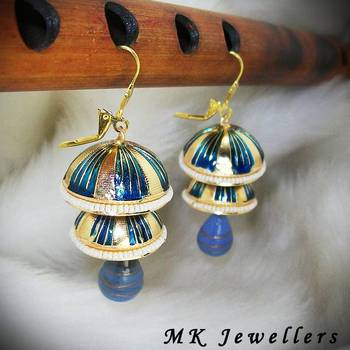 Meenakari Double Torki Earring Stripes Peacock Blues