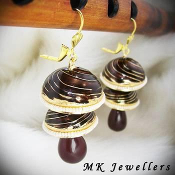 Meenakari Double Torki Earring Spiral Dark Brown