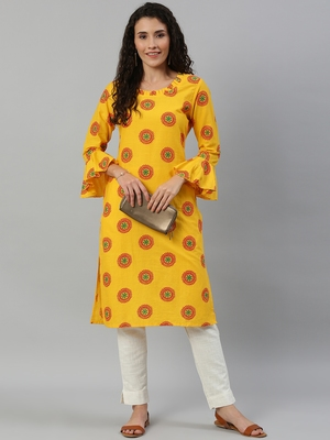 Straight Mustard Foil Printed Rayon Cotton Kurta For Girls's and Women's