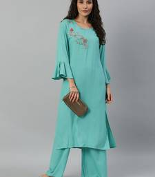 Kimisha Women Turquoise Blue Solid Kurta with Plazzo With Hand Work Detailing