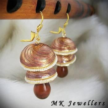 Meenakari Double Torki Earring Spiral Copper Brown