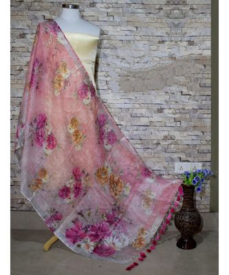 multicolor Handwoven Digitally floral Printed Linen Dupatta with tassels