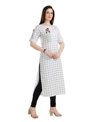 white printed art silk plus size kurtis