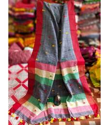 Grey Buti Work Khadi Cotton Handloom Saree With blouse