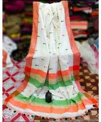 White Buti Work Khadi Cotton Handloom Saree With blouse