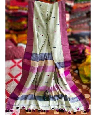Off White Buti Work Khadi Cotton Handloom Saree With blouse