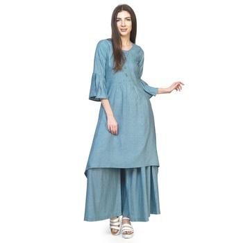 Blue plain cotton long-dresses