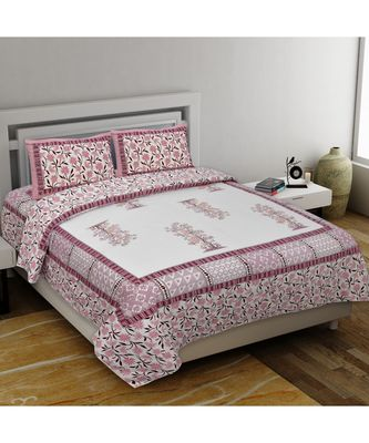 multicolor pure cotton multicolour jaipuri double bed sheet  with pillow cover