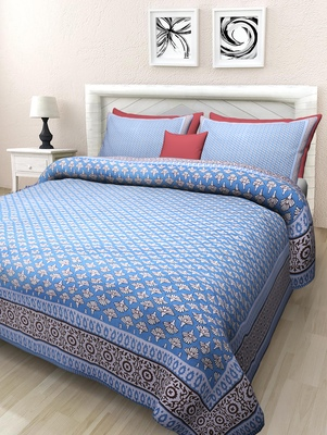 Texstylers Pure Cotton Printed Queen Size Bedsheet With 2 Pillow Covers