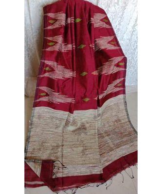 Maroon Temple Design Cotton Silk Handloom Saree With Blouse