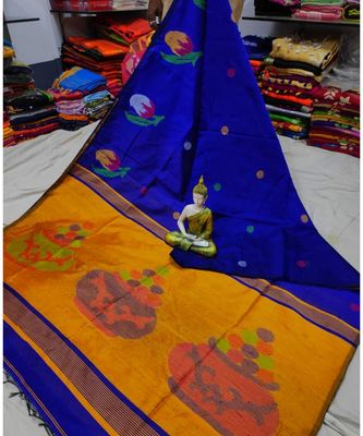 Yellow and Blue Mithay Pallu Design Cotton Silk Handloom Saree With Blouse