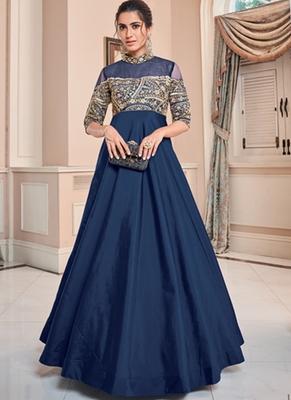 Royal Blue Soft Silk Tapeta Islamic Kurti