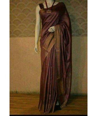 Dark Wine shade Tussar Moonga Silk saree with blouse