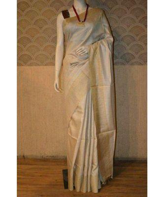 Ivory Shade Tussar Moonga Silk saree with blouse