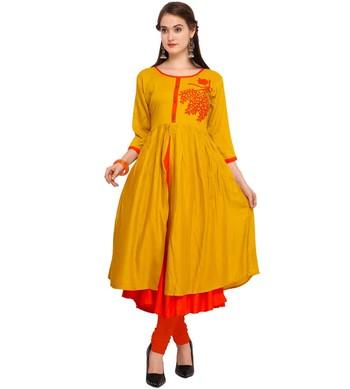 Yellow plain rayon party-wear-kurtis