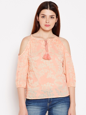Orange printed cotton tops