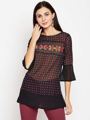 Black printed georgette tops