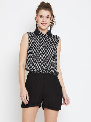 Black printed rayon tops