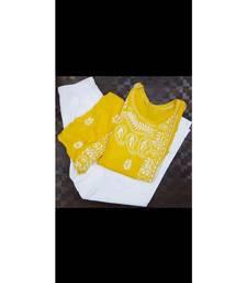 yellow Lucknowi Chikan Angarkha Set