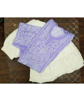 purple Lucknowi Chikan Georgette Kurti Set