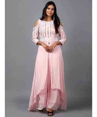 Light Pink Embroidered Kurta in Cold shoulder and Pallazo